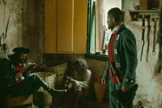 Mathias (Nuno Lopes), Inhambupé (Karai Rya Pua) e Joaquim (Julio Machado) - Copyright REC Produtores and Ukbar Filmes