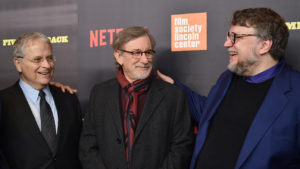"NEW YORK, NY - MARCH 27: (L-R) Laurent Bouzereau, Lawrence Kasdan, Steven Spielberg, and Guillermo del Toro attend the ""Five Came Back"" world premiere at Alice Tully Hall at Lincoln Center on March 27, 2017 in New York City. (Photo by Mike Coppola/Getty Images)"
